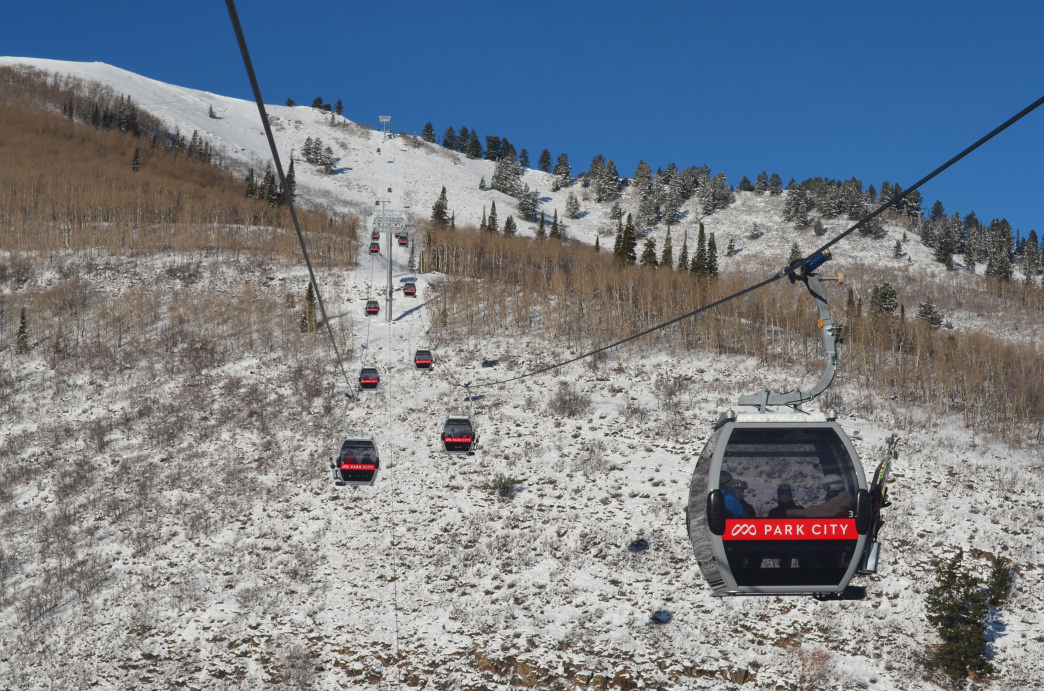 The Quicksilver Gondola transports skiers back and forth from the Park City side of the mountain to the Canyons Village side.