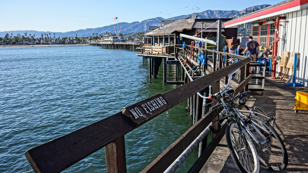 Ride a beach cruiser to Stearns Wharf to visit one of the city's top attractions.