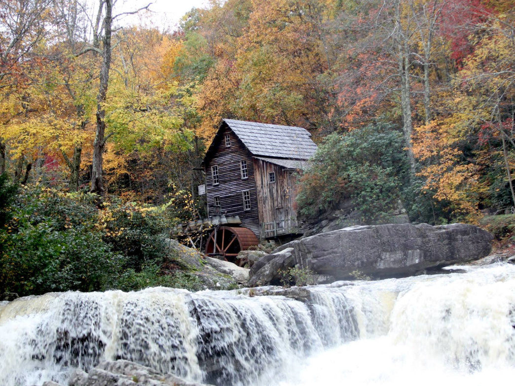 Babcock's working Grist Mill, West Virginia's second-most photographed landmark behind the New River Gorge Bridge.