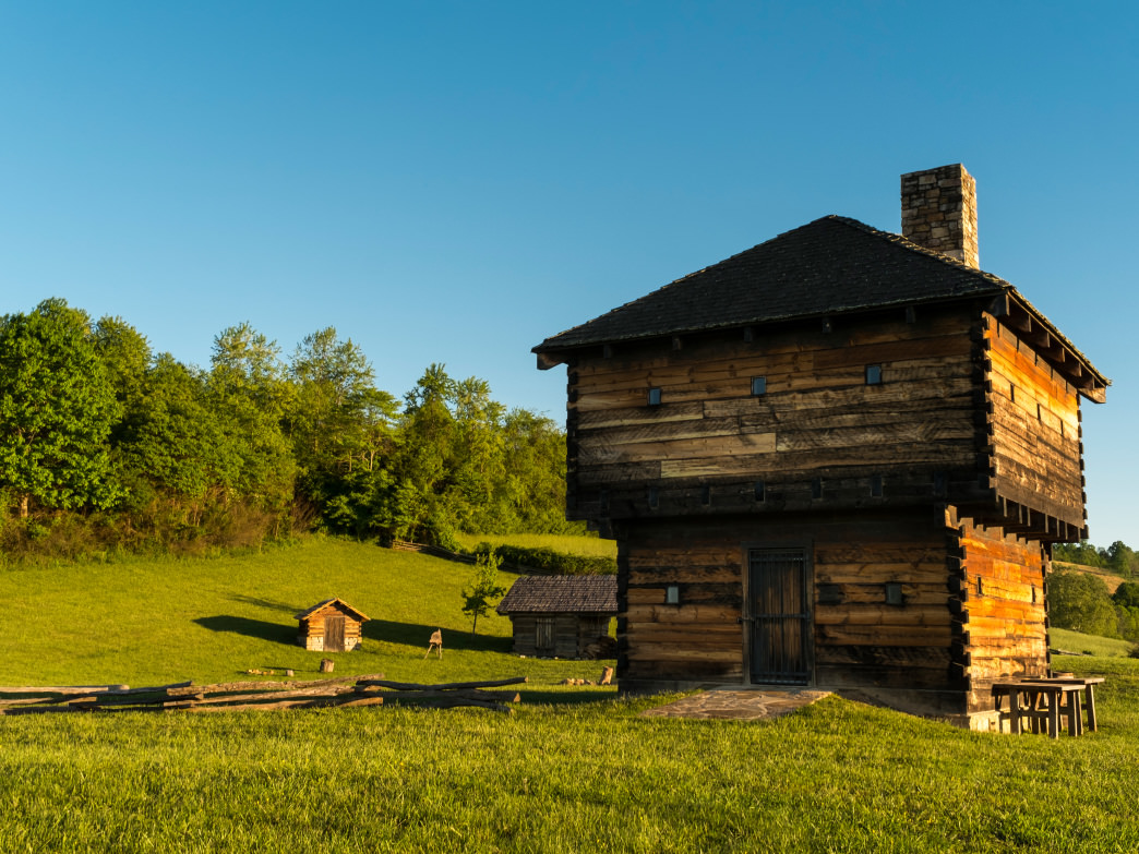 The Wilderness Road Blockhouse at Natural Tunnel State Park illustrates how settlers made the perilous journey west through the Appalachian Mountains.