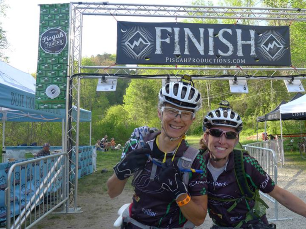 At the finish line of the PMBAR, with teammate Carey Lowery