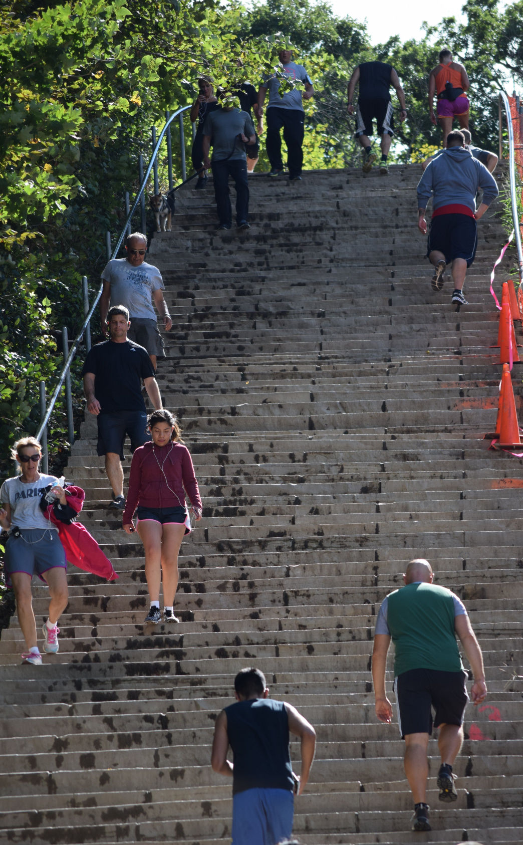 The limestone stairs at Swallow Cliff Woods has become a popular workout spot.