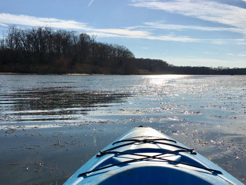 Paddling into Belmont Bay from Kane's Creek at Virginia's Mason Neck State Park.