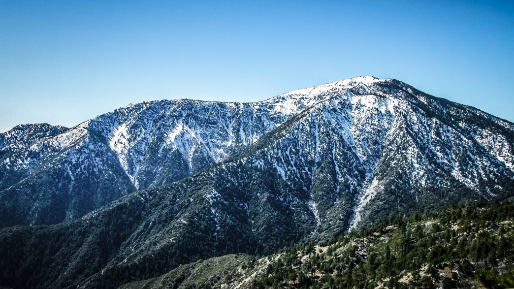 Approaching Mt. Baden Powell by road from Wrightwood.