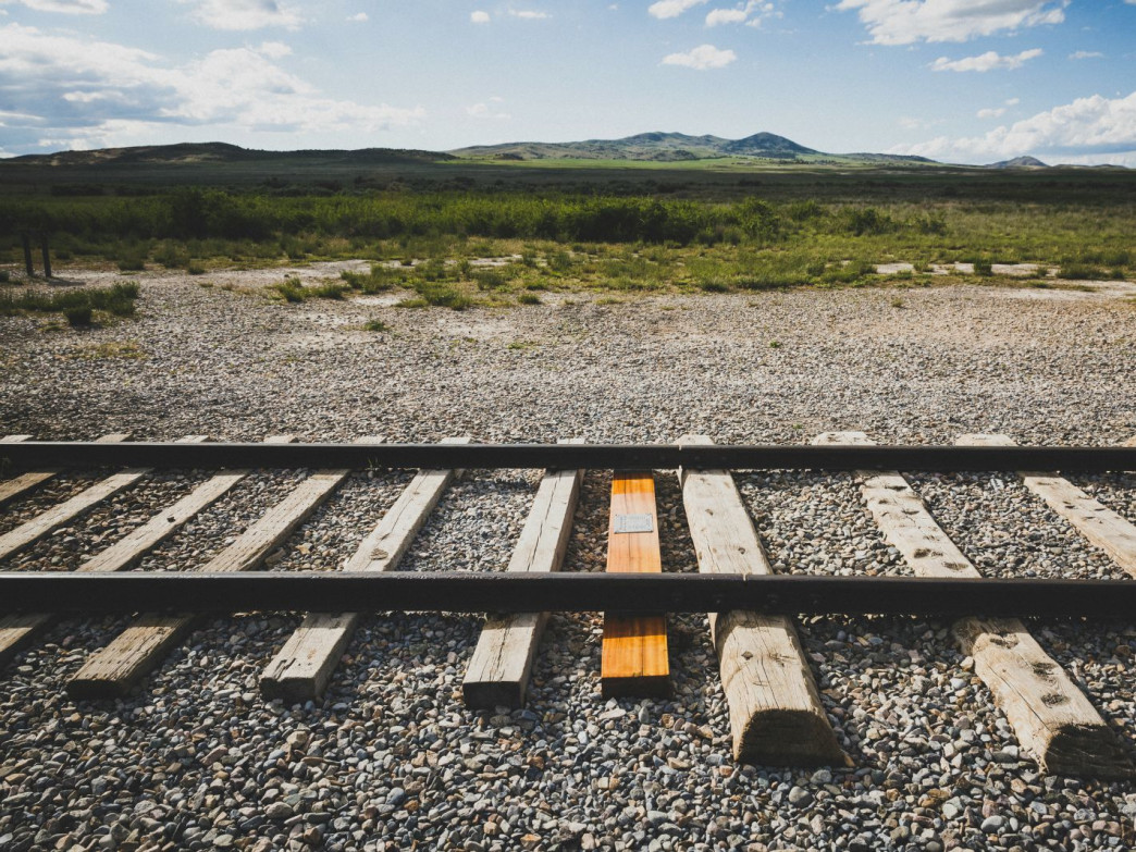 The final tie laid on the first transcontinental rail line, Golden Spike National Historic Site, Utah
