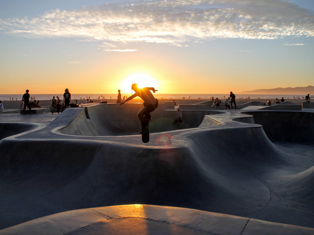 Skating Venice Beach at sunset.