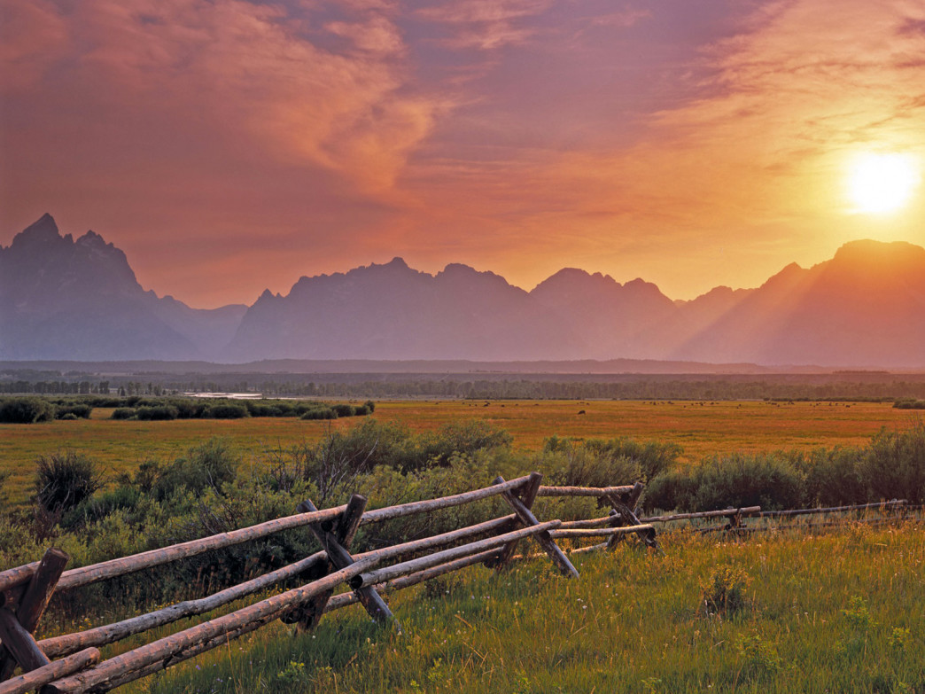 Sunset over the Grand Teton from the sagebrush flats.