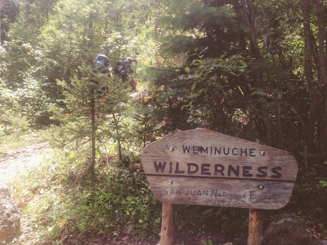 Entering the Weminuche Wilderness.