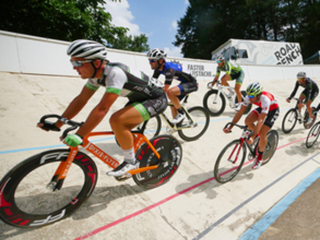 "A ""Keirin"" style race at the Dick Lane Velodrome."