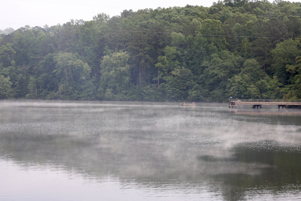 Fog rising off of the water at sunrise at Lake Lurleen.