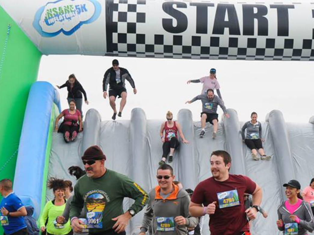 You'll encounter more than a dozen inflatable obstacles at the Insane Inflatable Run.