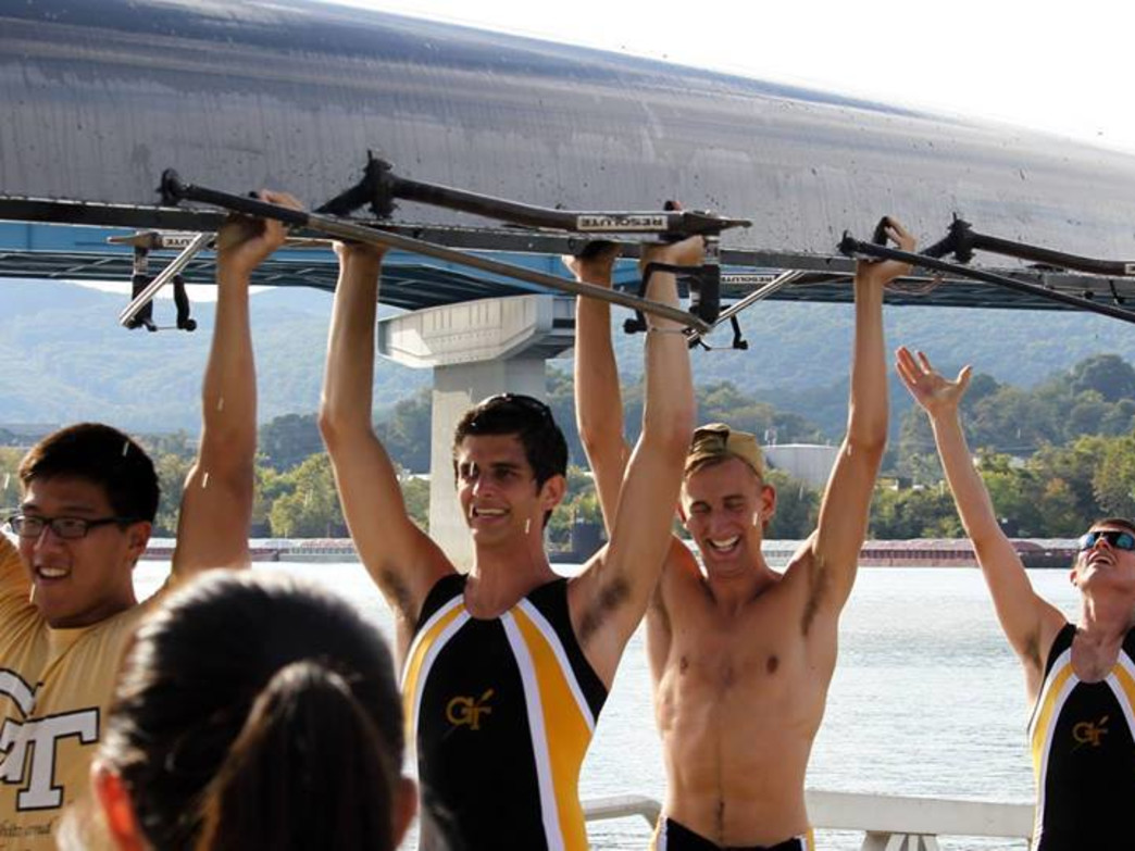 Members of the Georgia Tech Crew Team at the Chattanooga Head Race in 2014