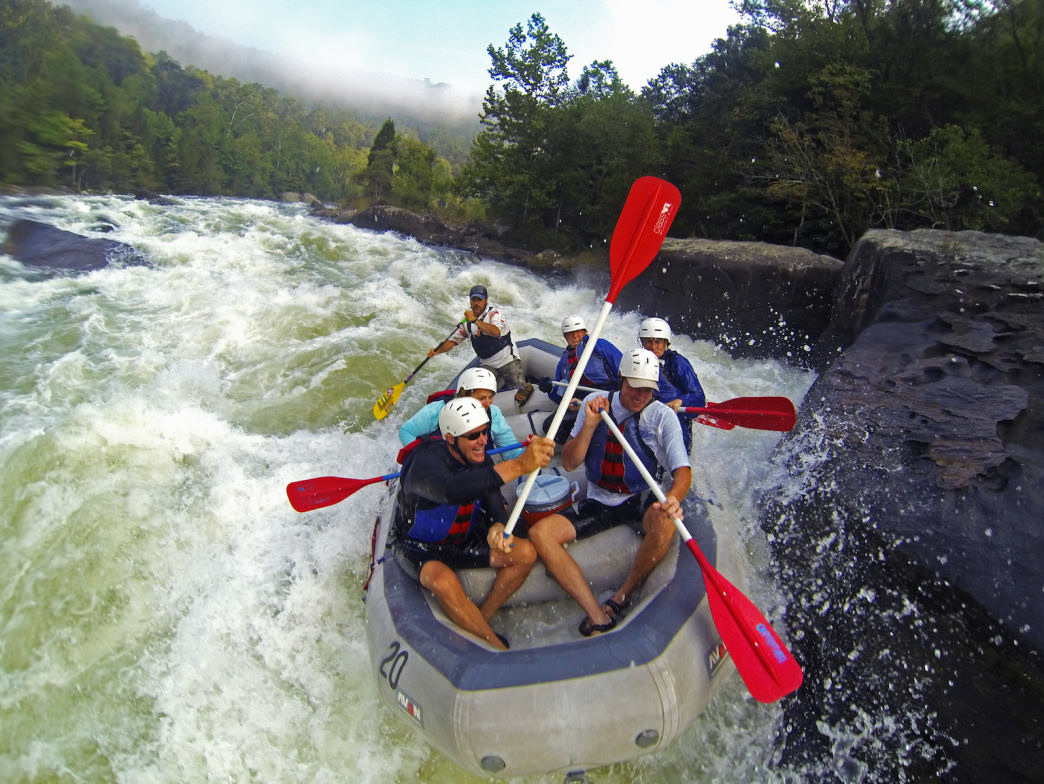 Rafting the Pillow Rock Rapid on the Gauley River is one of the wildest rides around.     Jay Young