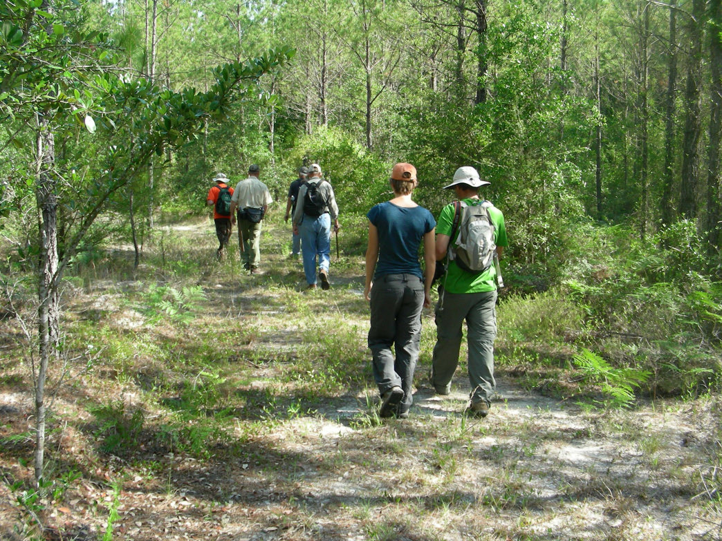 Hikers head out on a beautiful spring day from the Perdido River's southern trailhead.