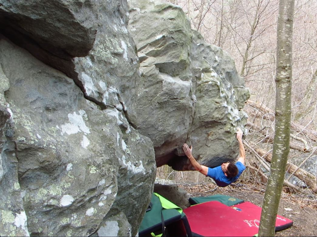 Robin Close bouldering at Rocks State Park, Maryland