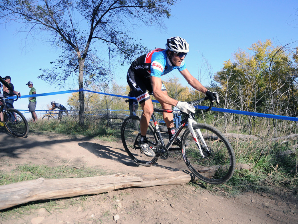 AJ Johnson navigates at the Shimano Cyclo-X Cyclocross race at Xilinx Inc. in Boulder, CO.