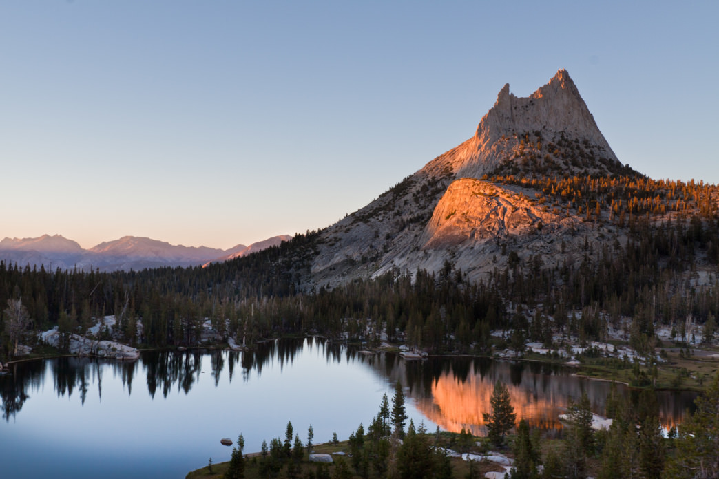 Upper Cathedral Lake is one of the first of many lakes along the JMT.