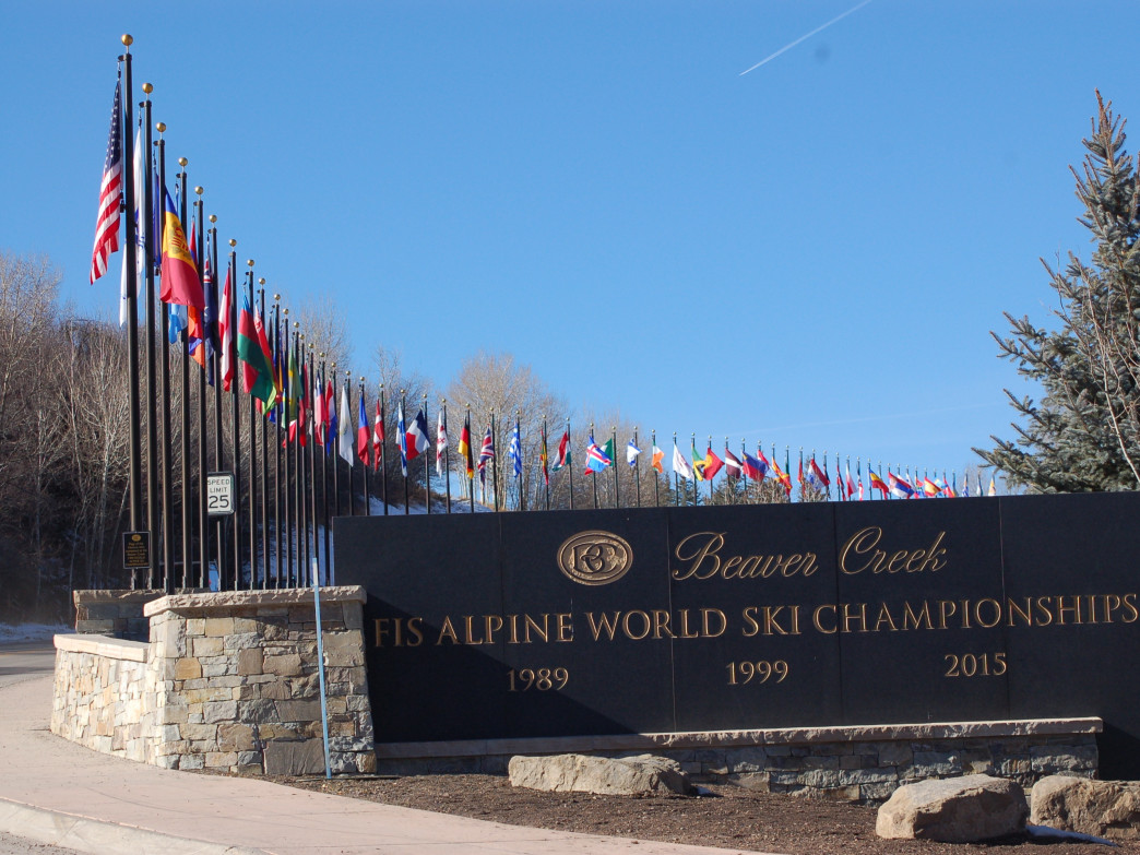World flags adorn the entrance to Beaver Creek in anticipation of the World Championships