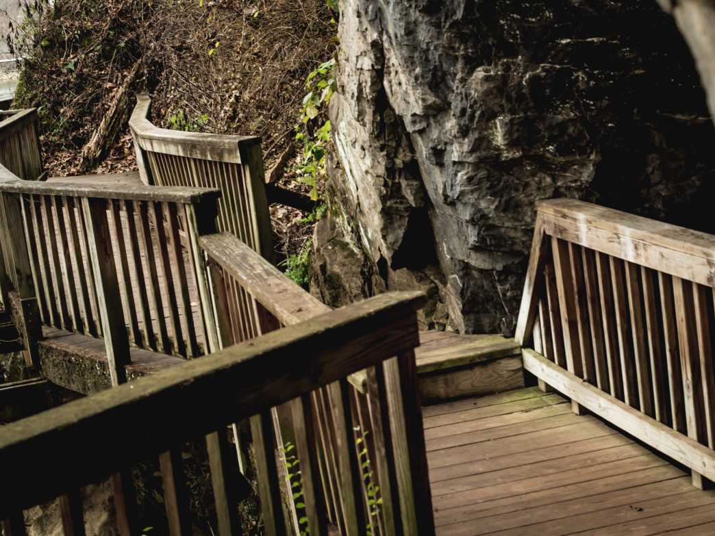 The entrance to Maud's Cave can be seen on the boardwalk along the  Ijams River Trail.