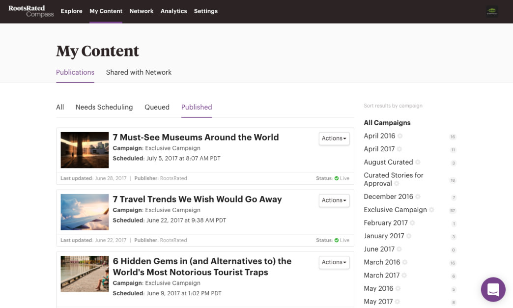ExOfficio can browse their content library and create new publications in Compass.