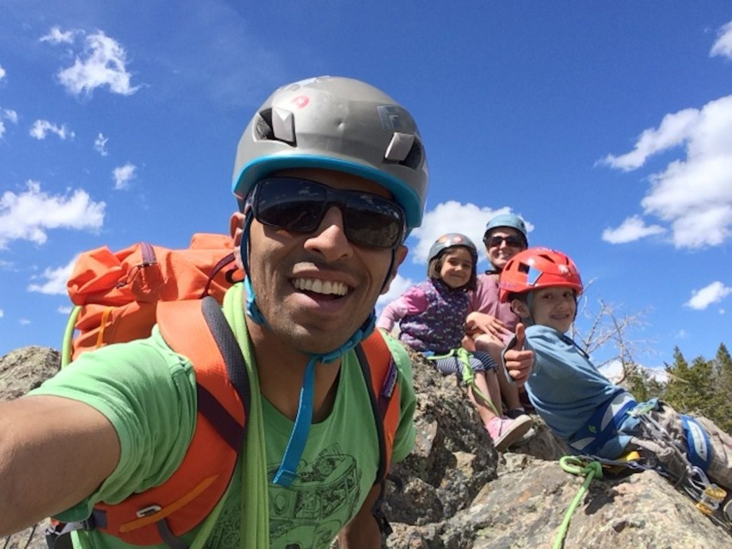 Z and his family. Their youngest, Gemma, age 5, finishing her first climb.