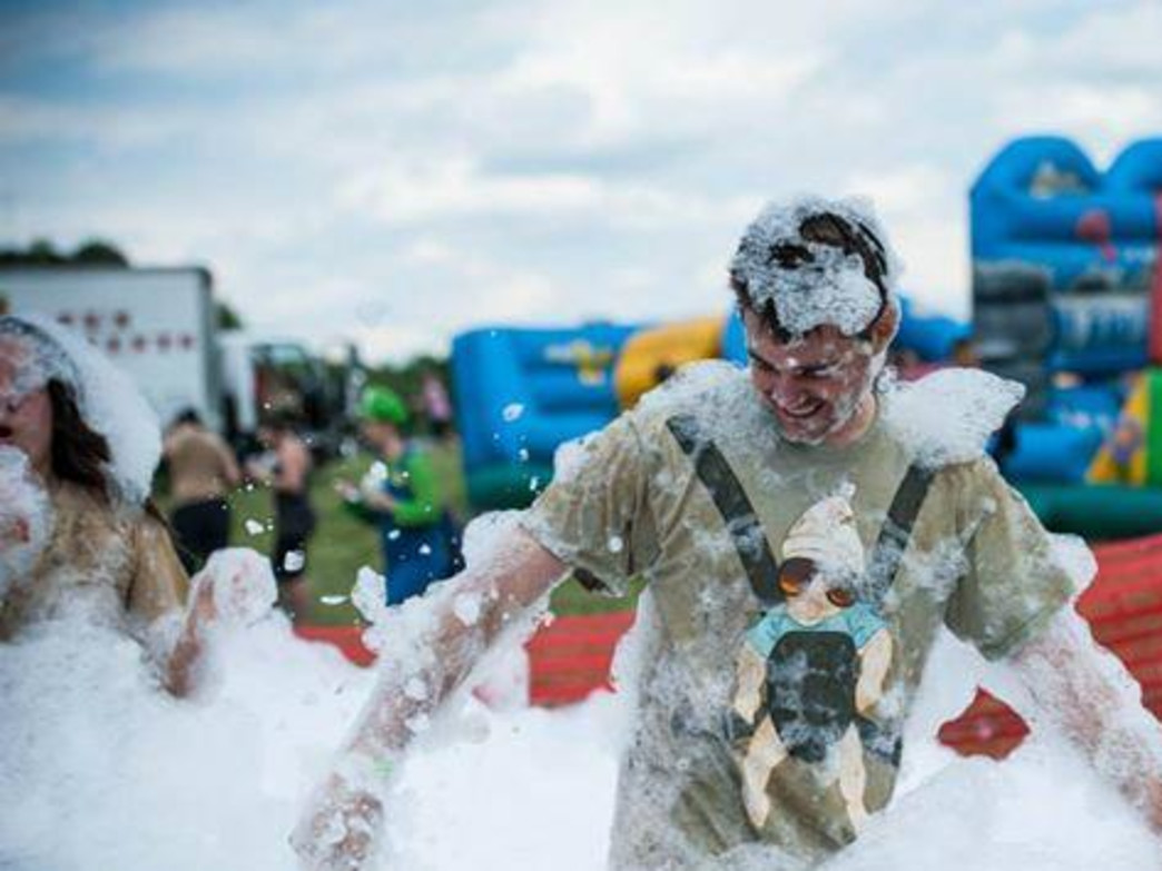 With foam pits and adult bouncy houses, this is no typical post-race festival.