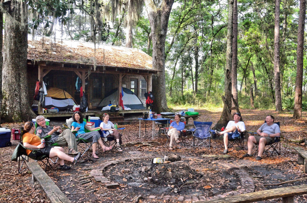 Camping at Floyd's Island during a 3-day canoe trip in the Okefenokee National Wildlife Refuge.
