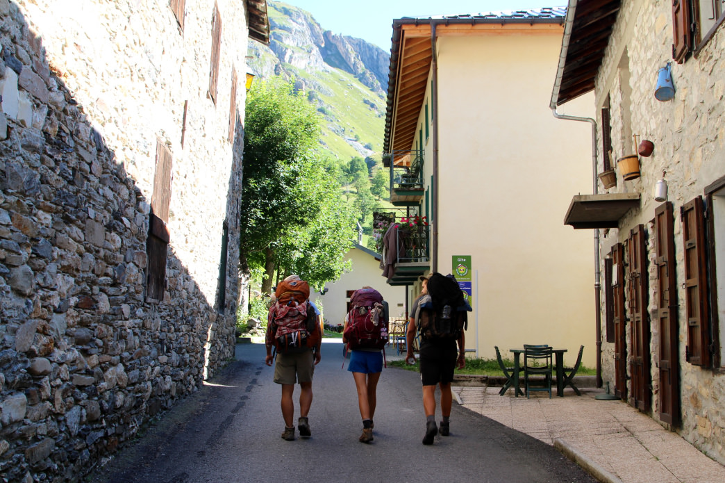 Backpacking through one of the many quaint hamlets along the Tour du Mont Blanc.     Matt Guenther
