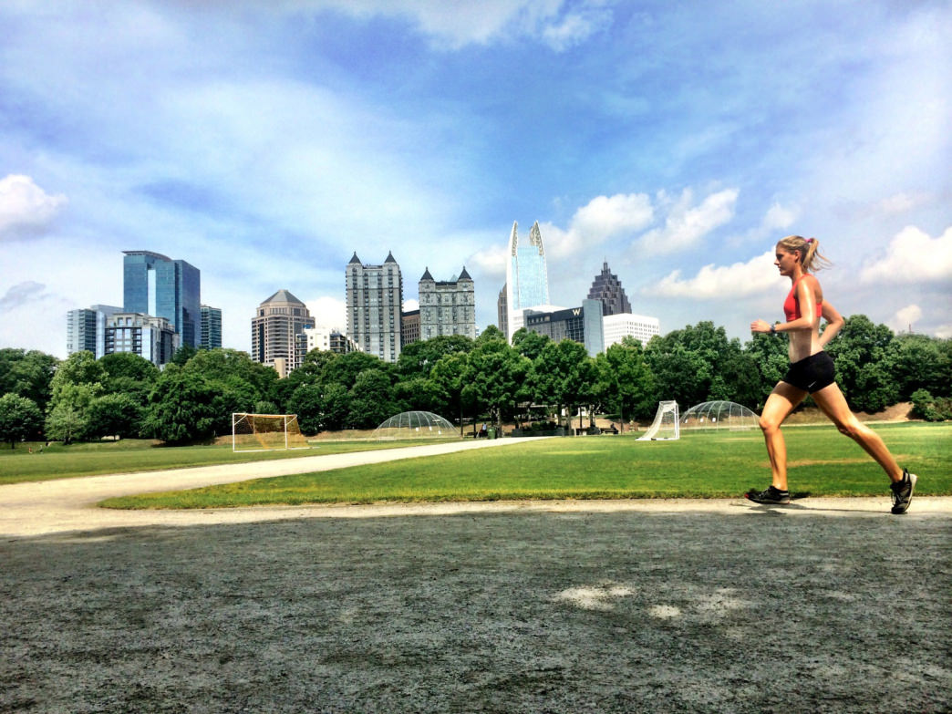 Running in Piedmont Park.
