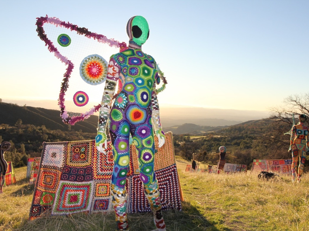 "First light reveals yarn-skinned ""aliens"" and their campsite along the Davy Brown trail in the Los Padres National Forest"