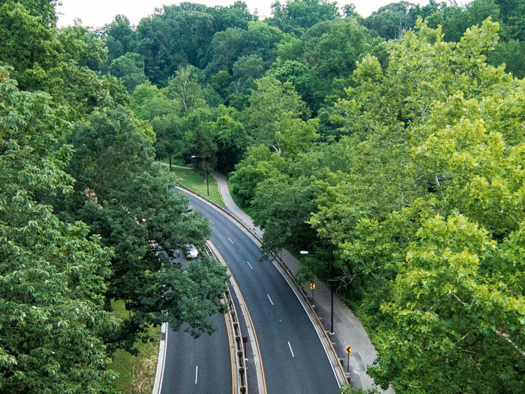 Aerial view of Rock Creek Park Trail -- the vein of passage between northern DC and the downtown monuments and landmarks.