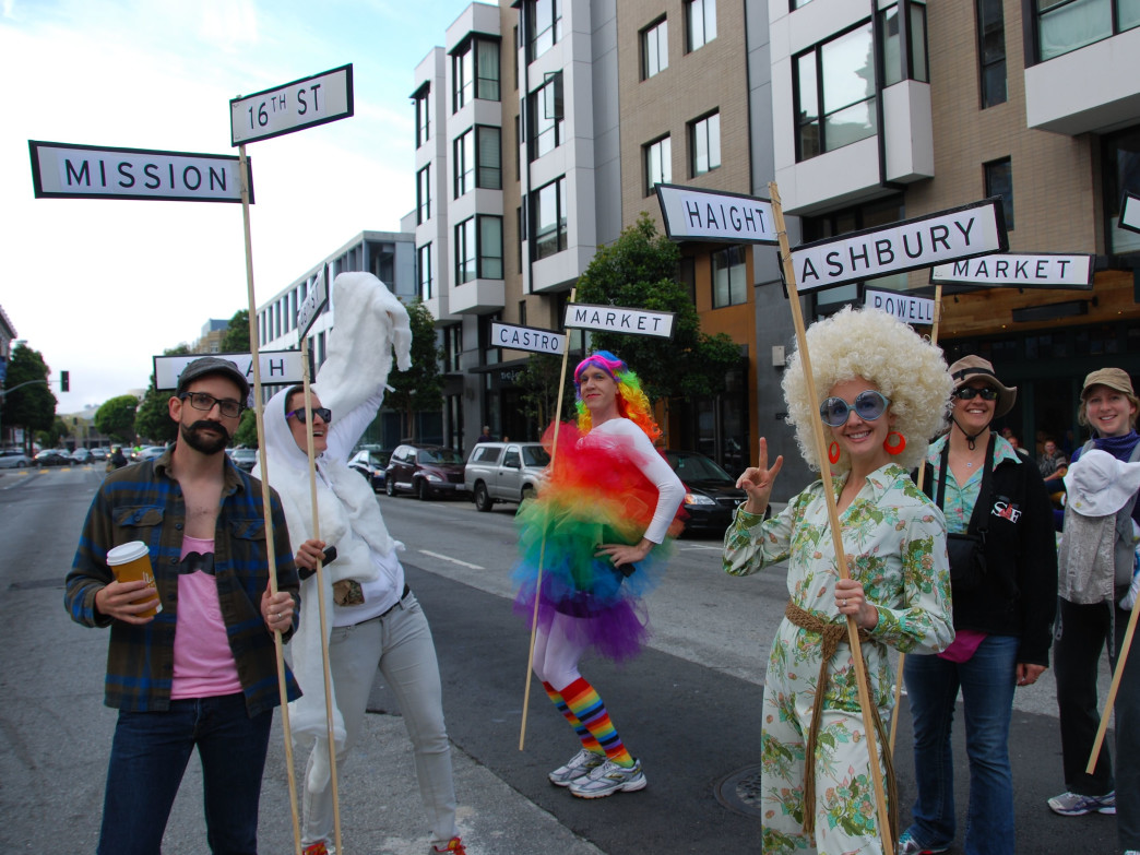 A group of incredibly creative fans dresses up as SF neighborhoods in the 2014 Bay to Breakers.