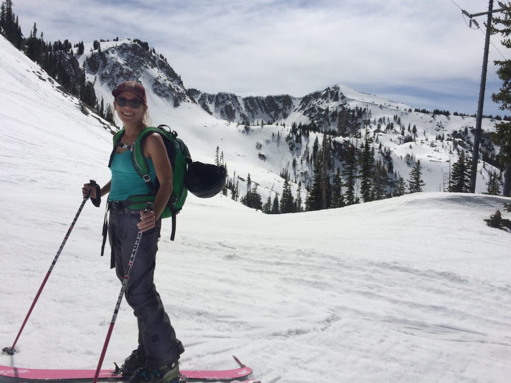 Jamie Engebretson takes in a little sun on a springtime tour in Big Cottonwood.