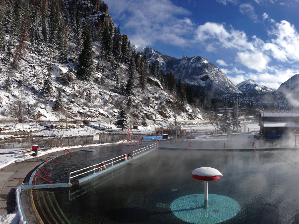 The Ouray Hot Springs on a winter morning.