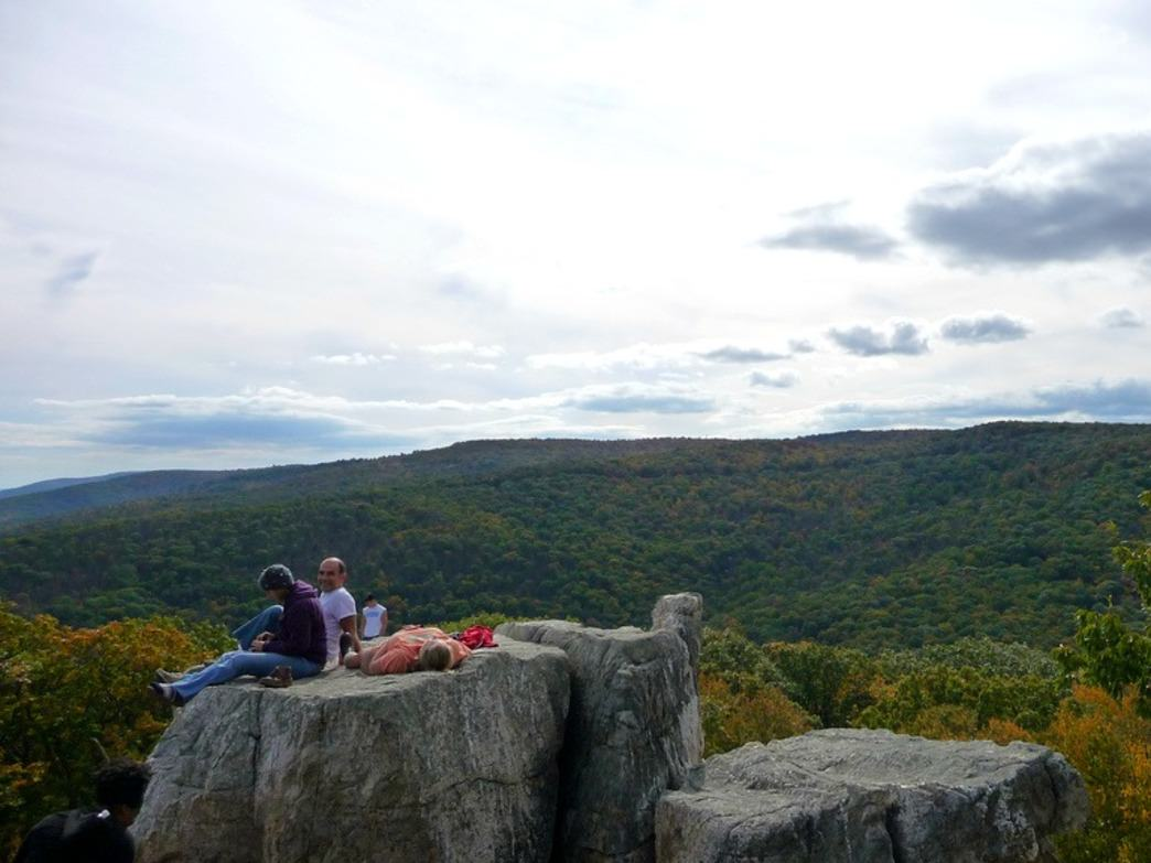Hikers pause to enjoy a great view while hiking in Catoctin Mountain Park