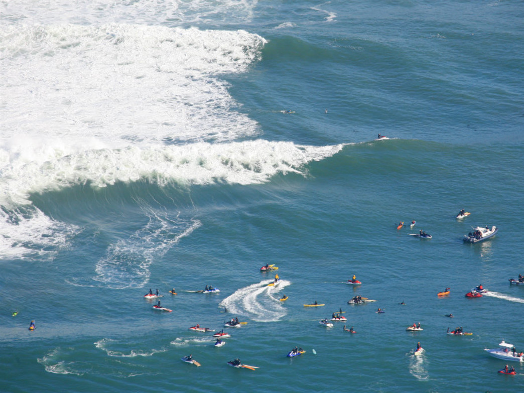 The Titans of Mavericks in Santa Cruz draws quite the crowds to the water, too.