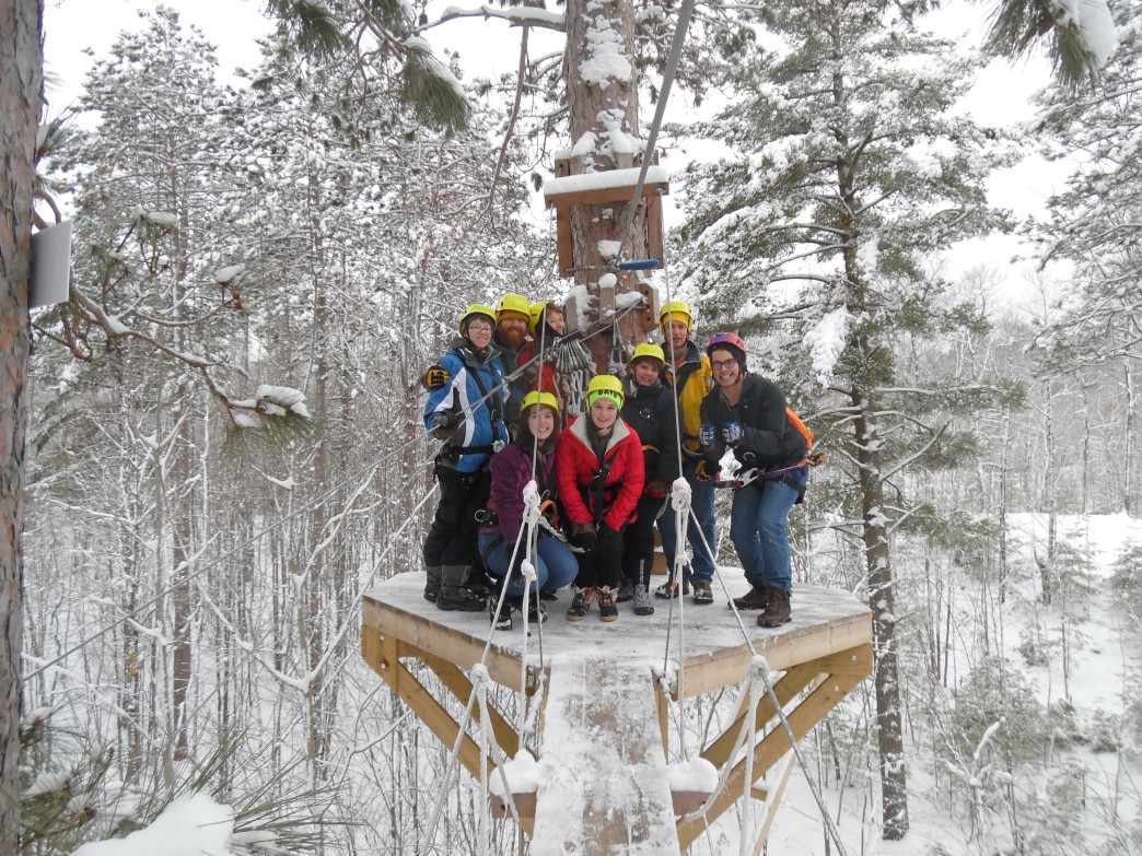 Zip lining in the winter offers a new view of the outdoors.