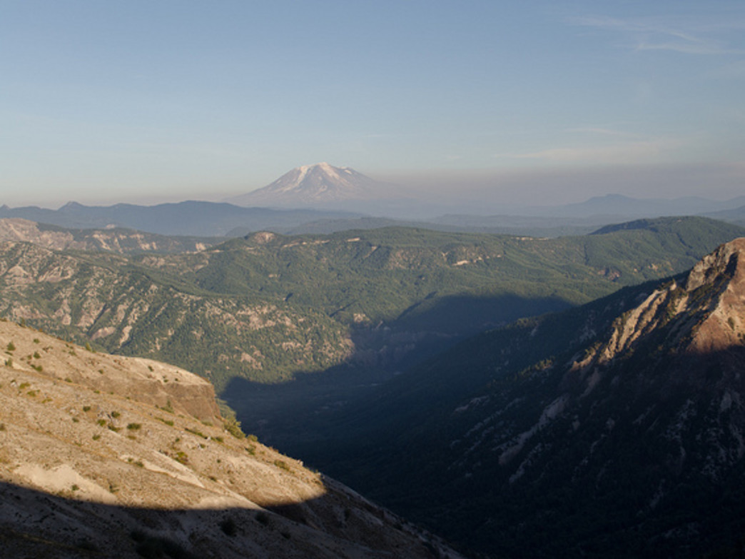 The Loowit Trail offers breathtaking views of nearby Cascade peaks, such as Mount Adams (pictured).
