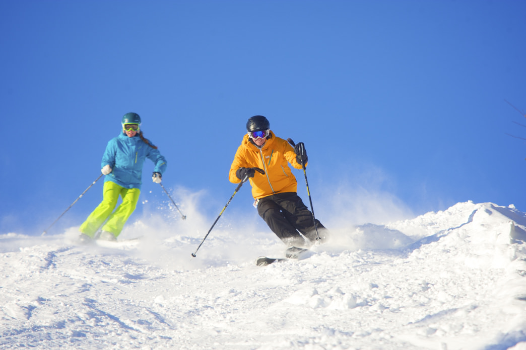 Bluebird days on the groomers at Okemo bring smiles to everyone's faces.
