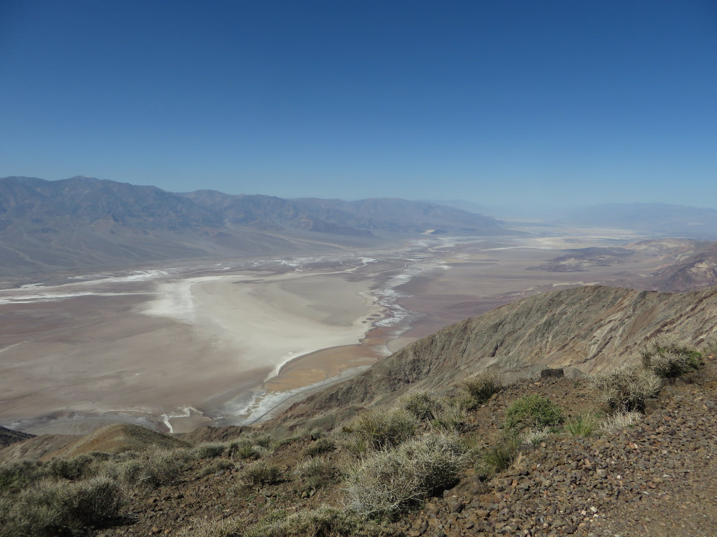 The Panamint Range rising above Badwater Basin across the way.