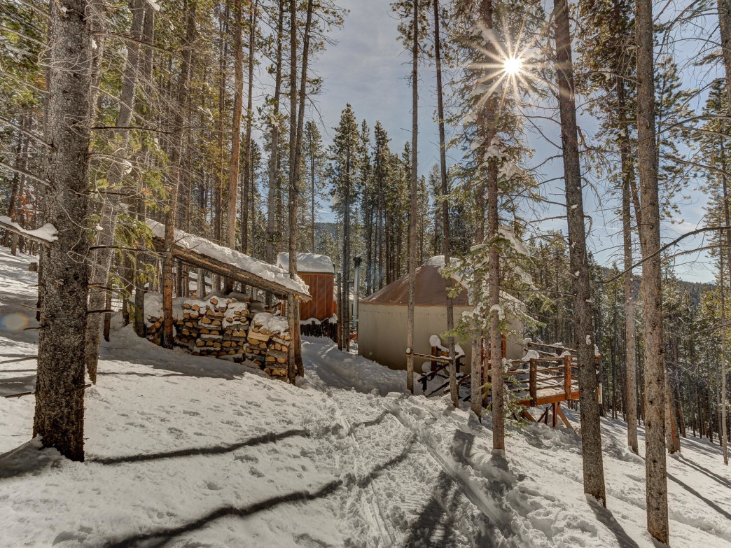 The Tennessee Pass Yurts are nestled in the woods near Leadville