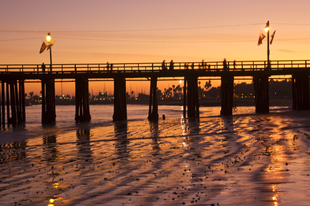 Stearns Wharf at sunset.