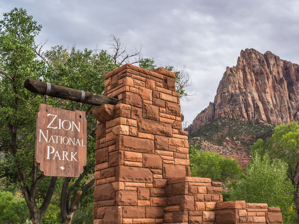 Zion National Park entrance.