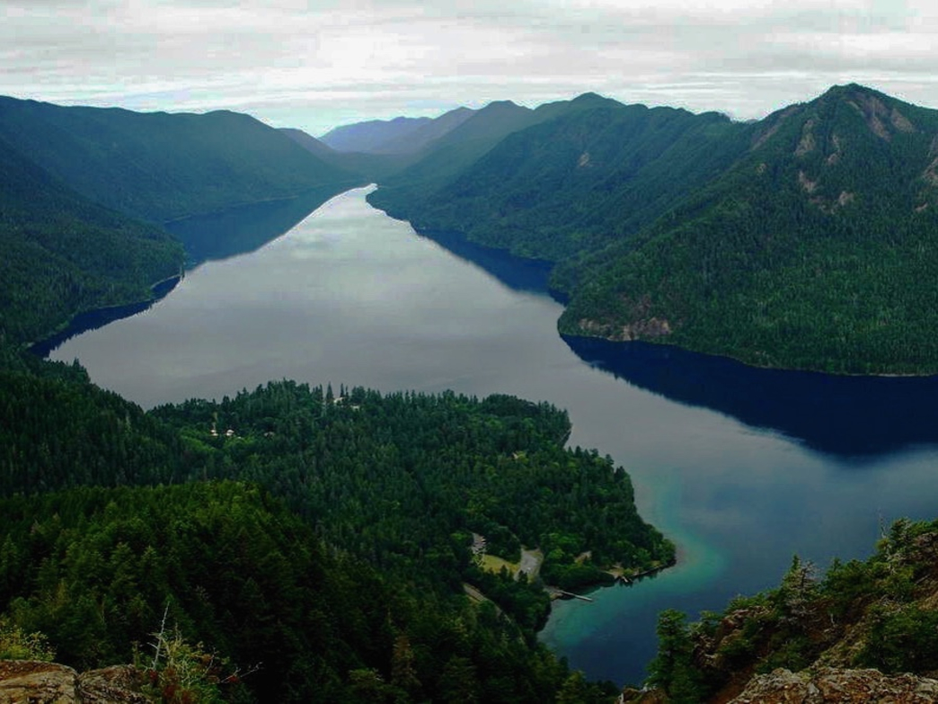 Looking down at Lake Crescent in Olympic National Park from Mount Storm King