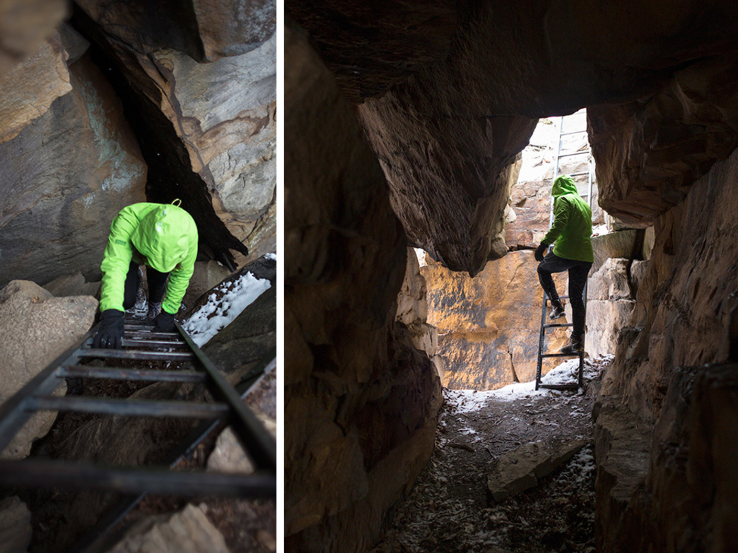 Down one ladder, through an interesting cave and yet another ladder to the base of Endless Wall.