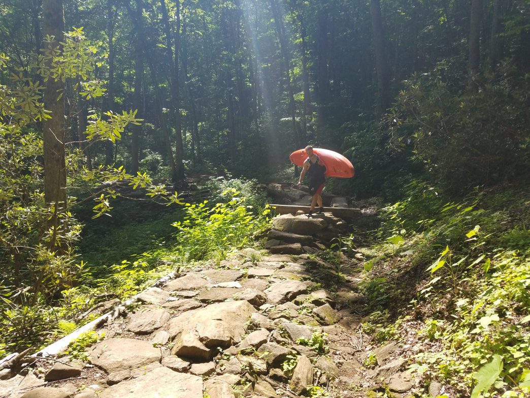 The steep trail to the bottom of High Falls offers a a challenge and great reward.