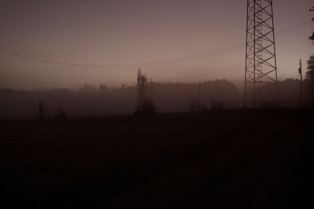 Foggy portraits of pumpjacks during a foggy night on Sanders Ferry Road.