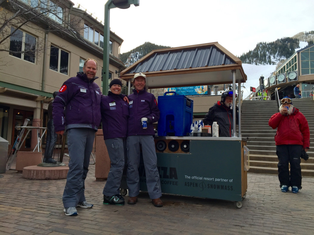 Mountain Ambassadors at the ready to serve free coffee.
