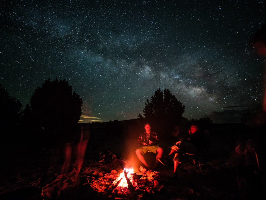 Relaxing under a ceiling of stars just outside the Grand Canyon.