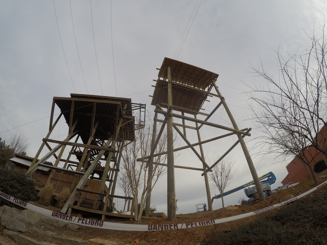 The new zip-line structure towers over the old Mega Zip.